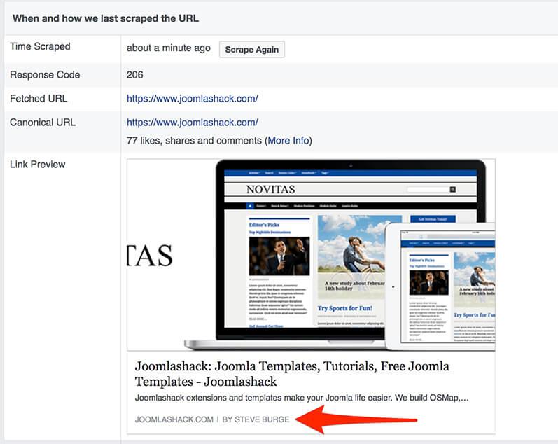 How to change the facebook metadata for your joomla site joomlashack facebook scraping a joomla site maxwellsz