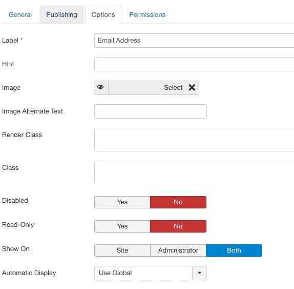 Väljade seaded Joomla versioonis 3.7