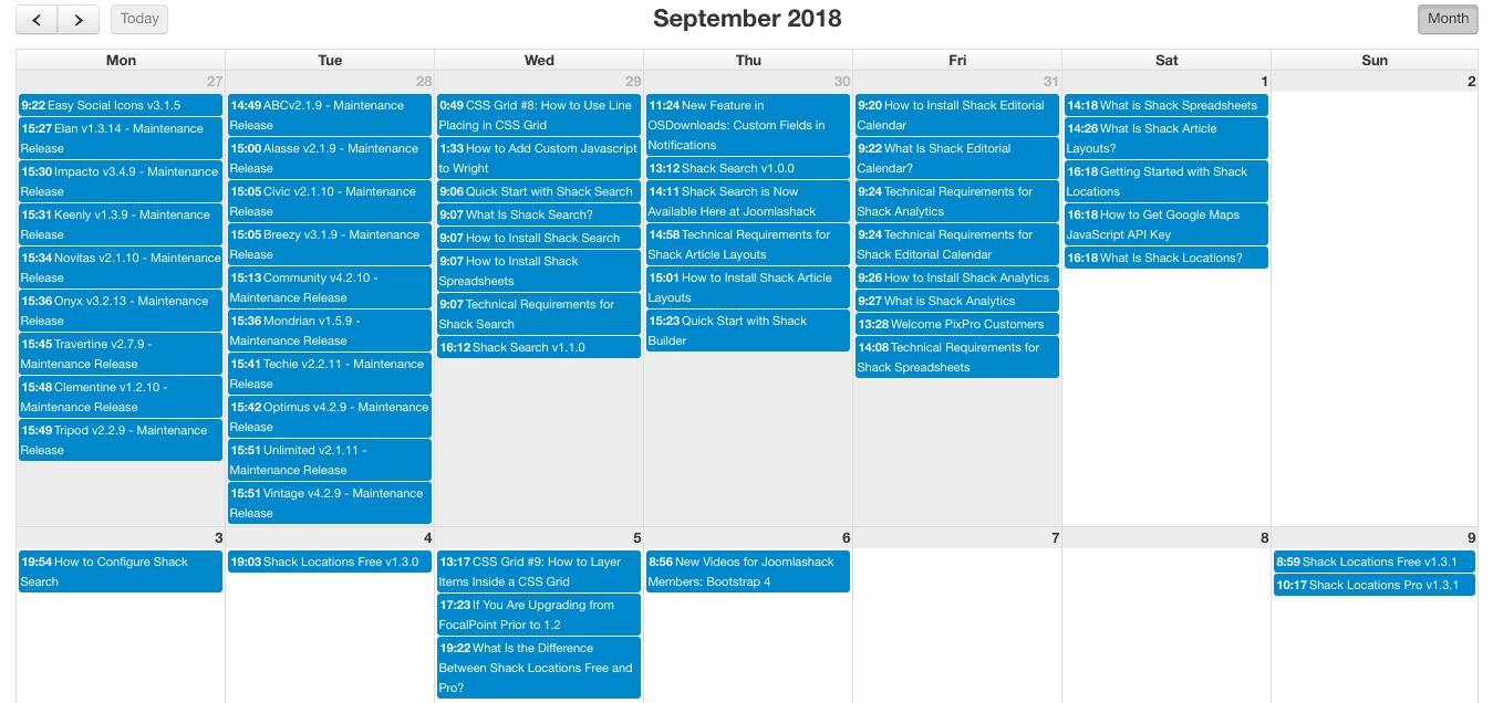 Shack Editorial Calendar Is Now Live at Joomlashack