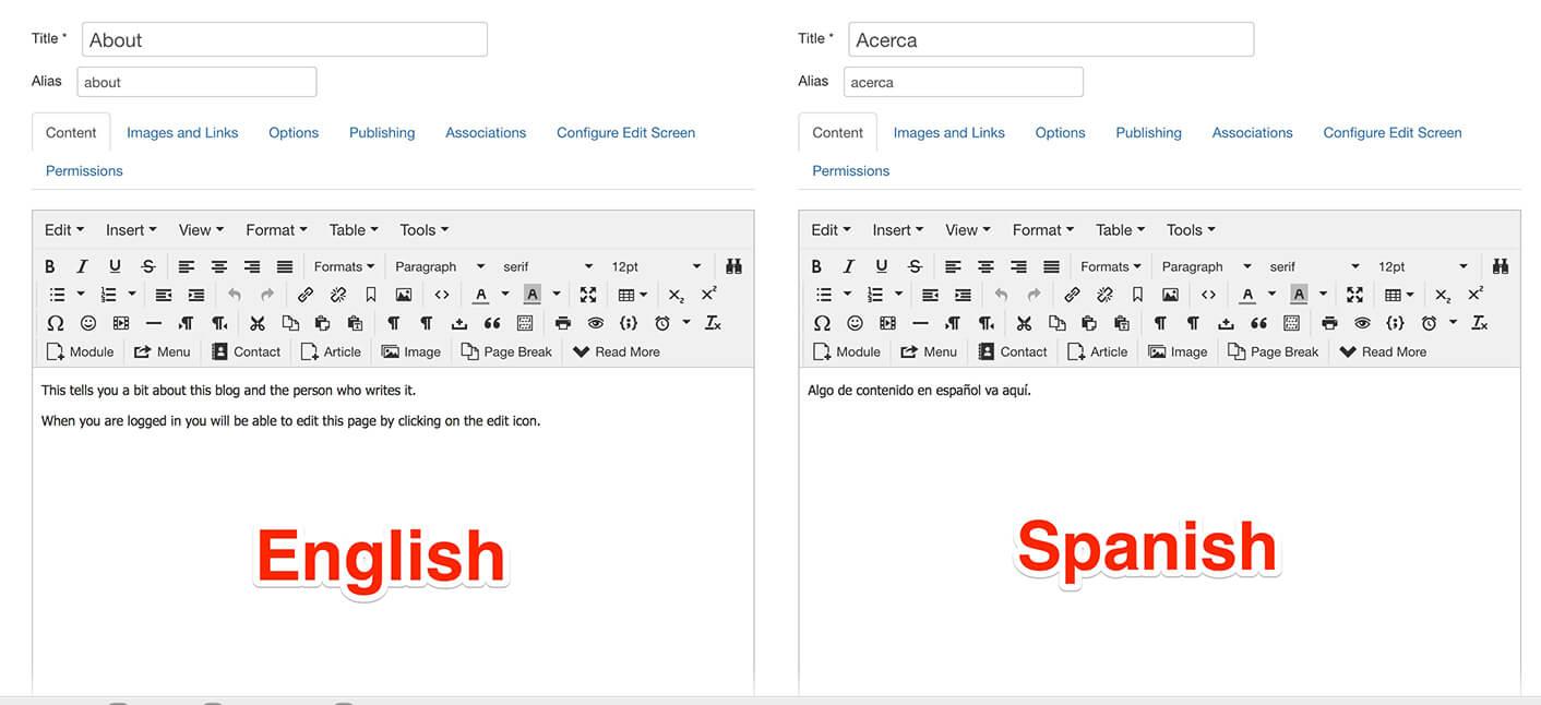 Multilingual Associations joomla