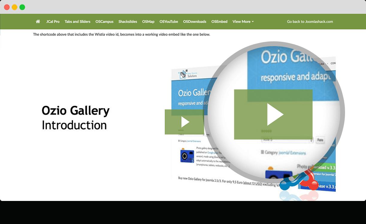 OSWistia - A Joomla Wistia Extension for Your Videos