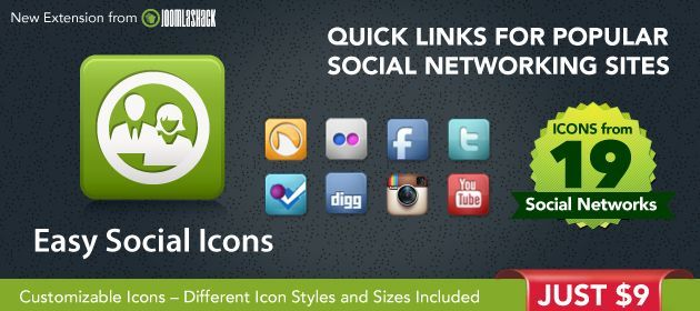 Easy Social Icons Extension by Joomlashack