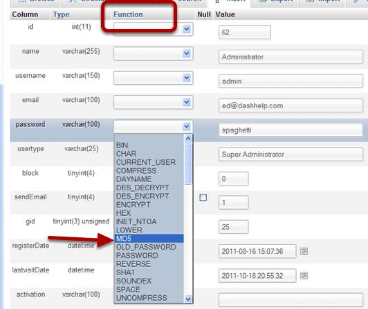 Encrypt any password in Joomla using MD5 - Joomlashack
